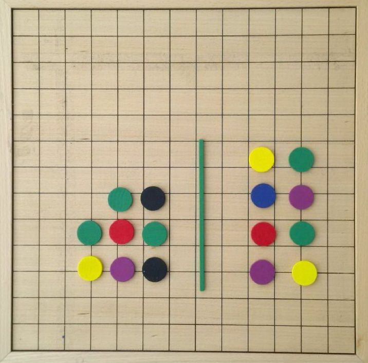 A Kindergarten boy was asked to move #spielgaben circular tablets (12 on the left and 4 on the right) to make the two groups the same. After a few trial & thoughts, he managed to move 4 tablets from left to right and both groups became equal. He learned addition/subtraction naturally while playing.