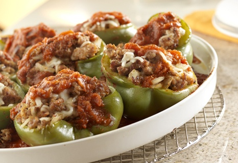 Stuffed Peppers. Use turkey sausage.