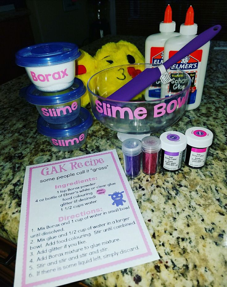 Slime Gak Kit made with Silhouette Cameo with Slime Recipe gift idea glitter borax glue Christmas gift Glitter Goo Fun!