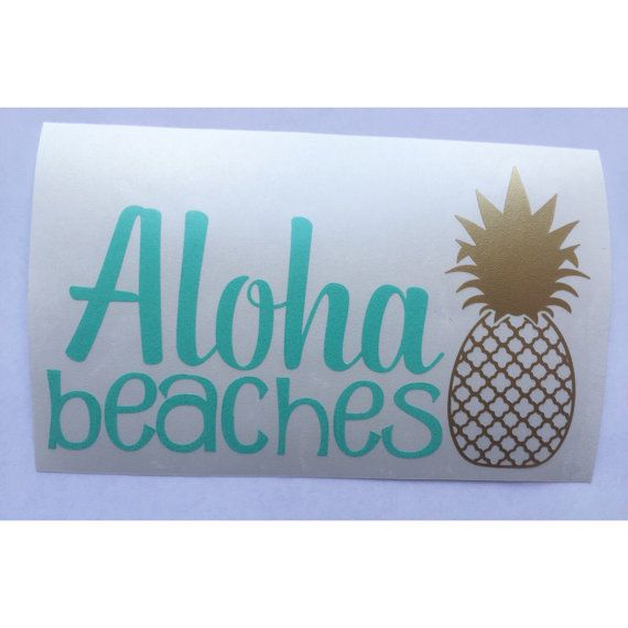 Aloha Beaches Decal Pineapple Decal Funny Car Decal by DashofFlair