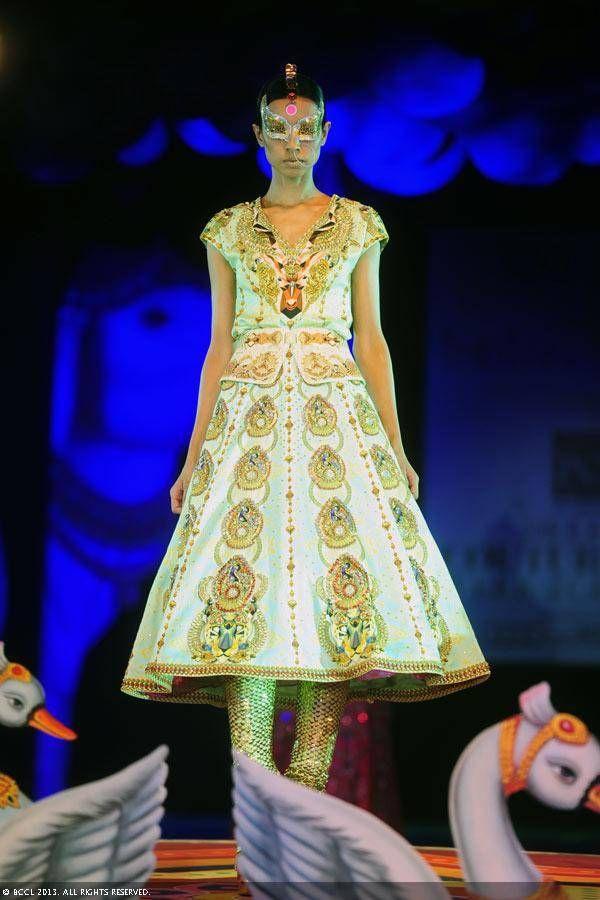 Cream anarkali by  Manish Arora at Delhi Couture Week 2013.