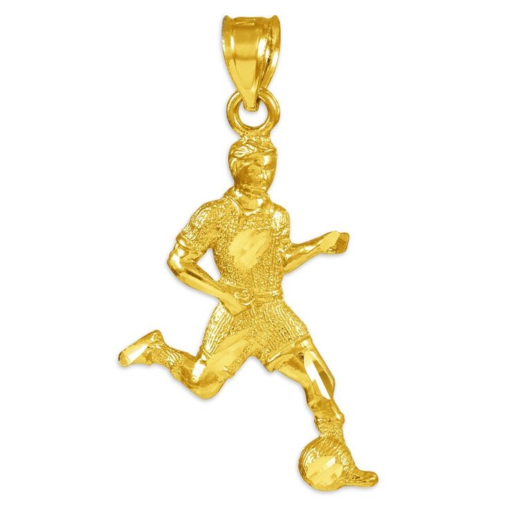 10k Gold Soccer Player Futbol Sports Charm Pendant. finely detailed sports charm pendant depicting a soccer player dribbling the ball. masterfully crafted with fine 10 karat yellow gold in perfect polished finish. comes with free special gift packaging. made in the USA yet offered at factory direct jewelry price. ships from the manufacturer directly to the customers.
