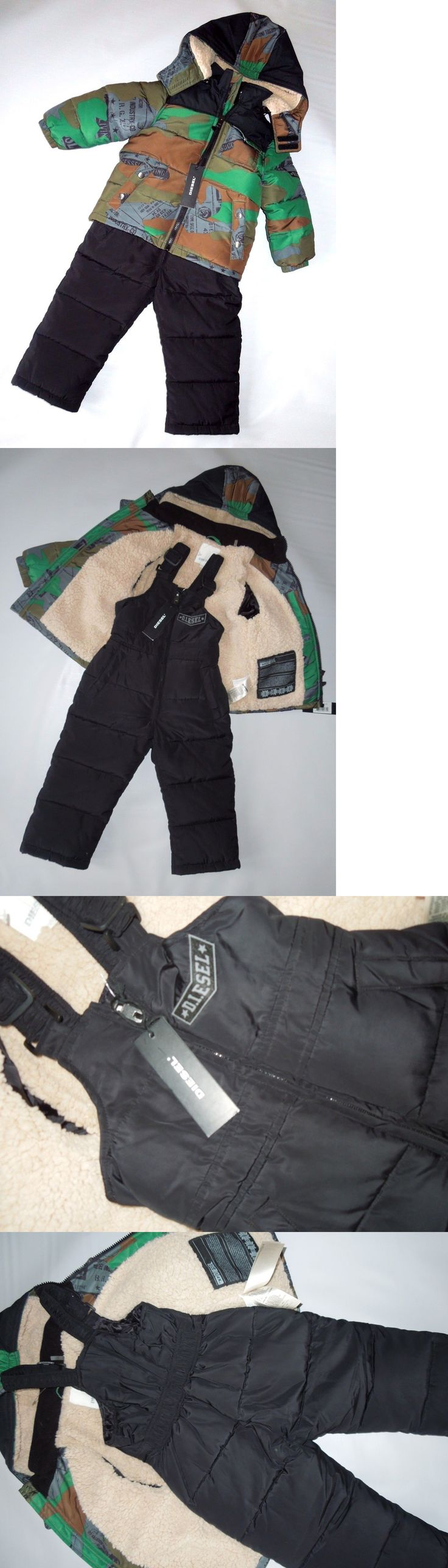 Baby Boys Clothing And Accessories: Diesel Baby Boys Green And Black Snowsuit Bib Pants Jacket Set Size 2T 2 BUY IT NOW ONLY: $84.96