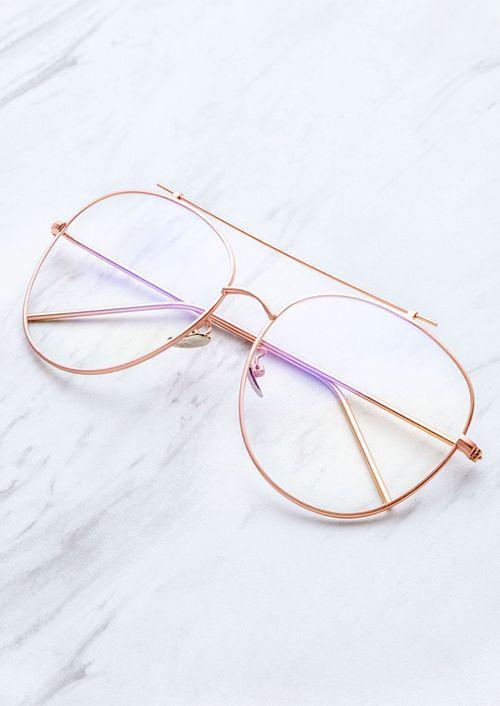 Rose Gold Frame Clear Lens Double Bridge Glasses