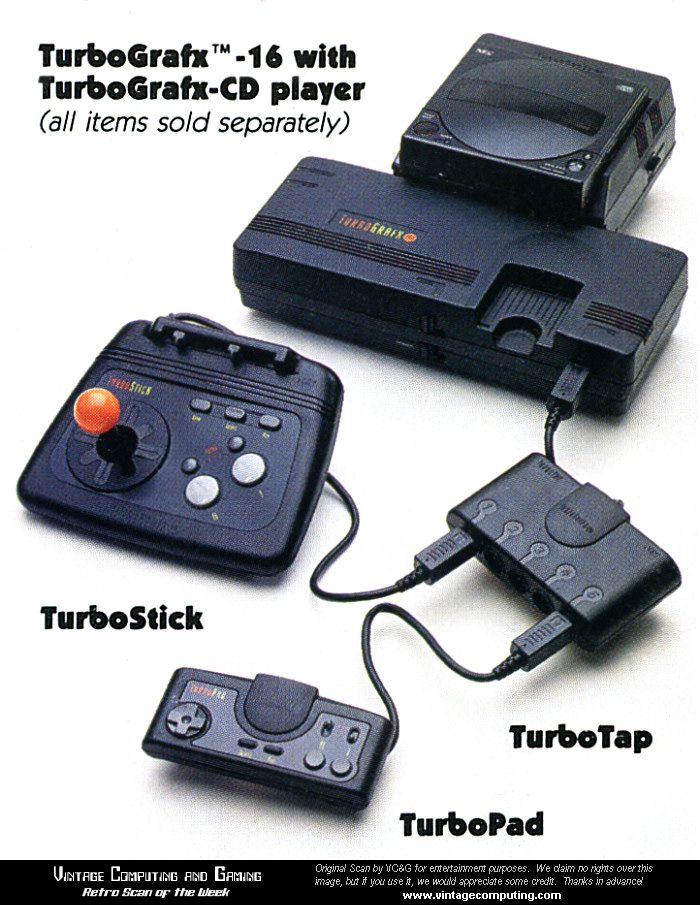 a fully-loaded TurboGrafx-16 system, complete with TurboGrafx-CD add-on, TurboStick, TurboTap, and of course, a TurboPad.