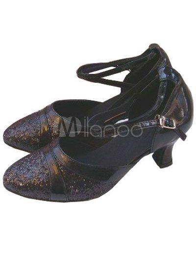 Elegant Black PU Leather 2 3/5'' High Heel Womens Latin Shoes - Milanoo.com