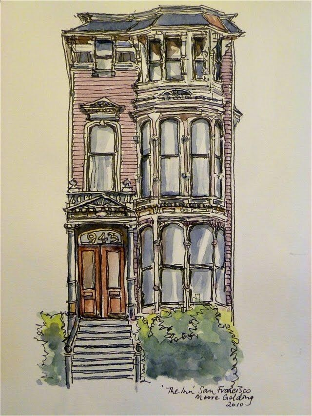 'The Inn' South Van Ness Avenue San Francisco. Now a beautiful elegant hotel, it was one of the Victorian houses that managed to escape the early 1900s earthquake and subsequent fire. #theinnsanfrancisco #theinn #sanfrancisco #victorianbuilding #elizabethmooregolding #penandink