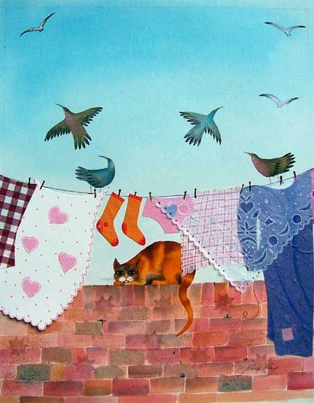 """""""Wash lay on the wall as orange as the sun"""" From the book The King of Capri - Jane Ray, 2003"""