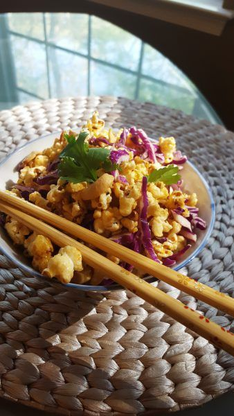 Vegan Thai Red Curry Popcorn with Cashews and Cabbage--Vegan Recipes for Vegans and Vegetarians: The Blooming Platter in Virginia Beach, VA