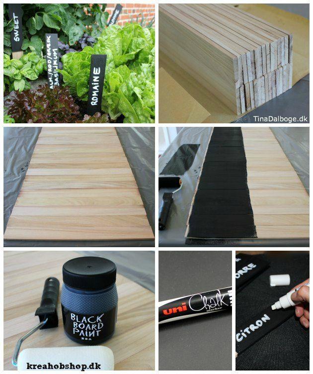Planteskilte lavet af trælister - tavlemaling og Chalk Marker tusch