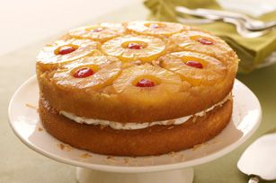 Pineapple Coconut Upside-Down Layered Cake recipe