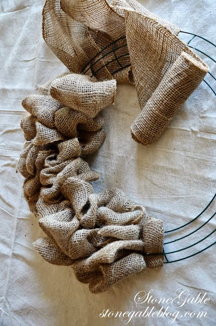Much easier than my burlap wreaths - StoneGable: BURLAP WREATH TUTORIAL. I've purchased a few wreaths, and I LOVE them. I definitely wanna learn one day to make them myself. This will come in handy!