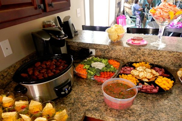 bridal shower food- meatballs, veggie tray, cheese/meat & crackers and taco cups