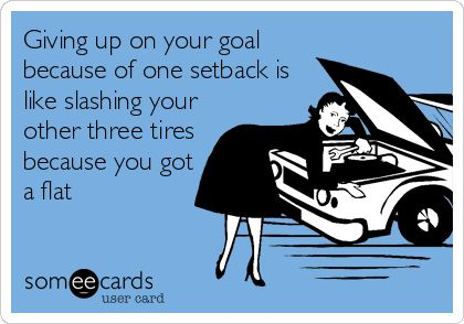 someecards.com - Giving up on your goal because of one setback is like slashing your other three tires because you got a flat