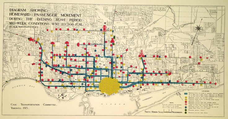 """""""Diagram Showing Homeward Passenger Movement during the Evening Rush Period Mid-week conditions 4-30 to 7pm"""" [Toronto] (1915), Map & Data Library, University of Toronto Libraries"""