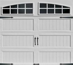 Ideal 9' x 7' White Arch Lite Long Panel Insul. Carriage House Garage Door at Menards