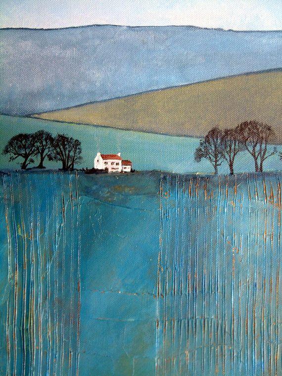 Winter Farmhouse Landscape in Blue Original by AstheCrowFliesArt
