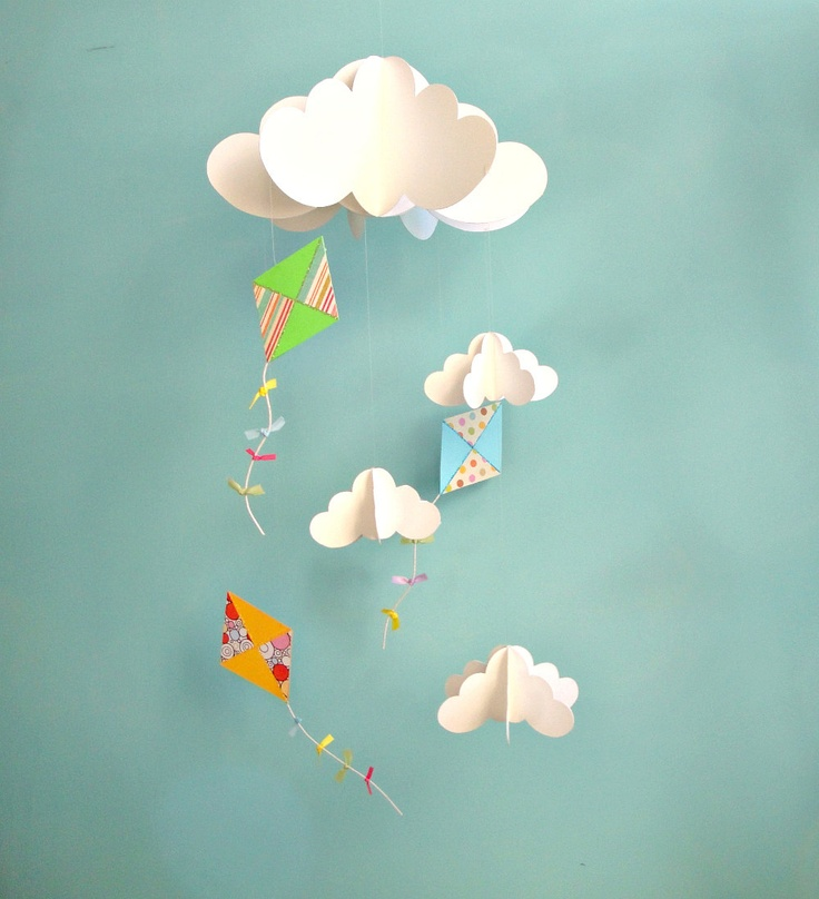 Kite Mobile, Baby Mobile, Nursery Mobile, Hanging Paper 3D Mobile. $43.00, via Etsy.