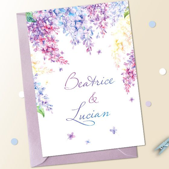 Invitatii nunta liliac