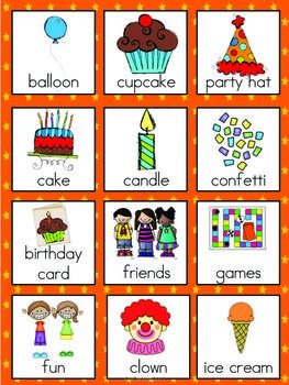 Birthday Vocabulary Cards   Fun for kids   Vocabulary ...