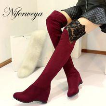 Zima Odcinek botas mujer moda Okrągły Toe suede kobiety wysokie obcasy duży rozmiar 34-43 Wysokość Zwiększenie Poślizgu-na Over-the-Knee boots(China (Mainland))