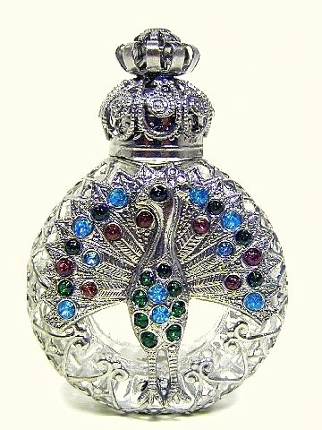 Vintage Czech Hand Made Perfume Bottle with Topper.