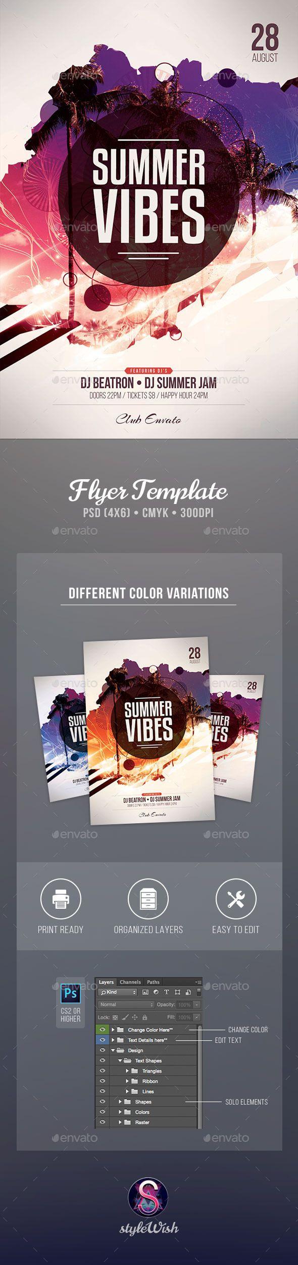 Summer Vibes Flyer Template #design Download: http://graphicriver.net/item/summer-vibes-flyer/12371131?ref=ksioks