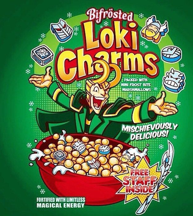 Loki Charms are, appropriately, mischievously delicious. | These Cereals Based On Comic Book Characters Are Awesome