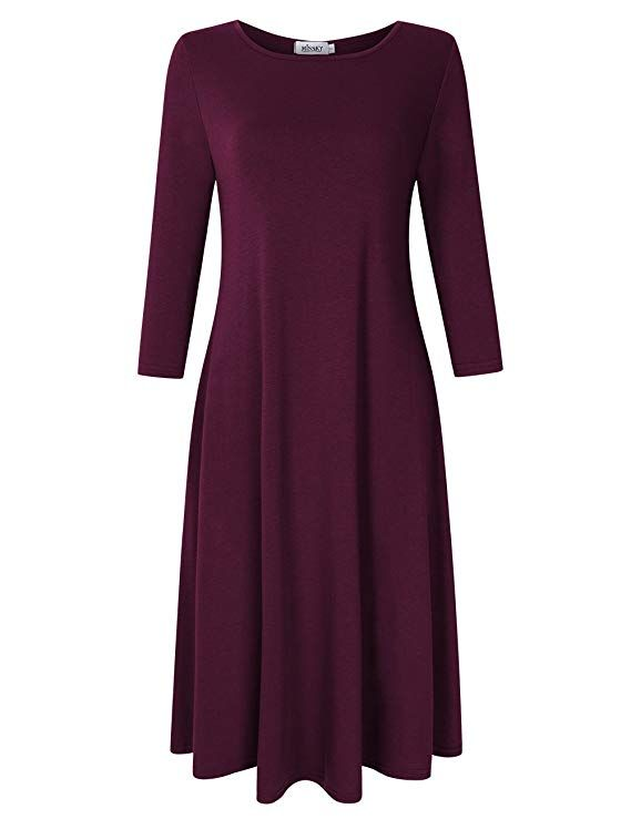 ec48eba38ad6 MISSKY Women s 3 4 Long Sleeve Swing Loose Plain Midi Dress (XX-Large