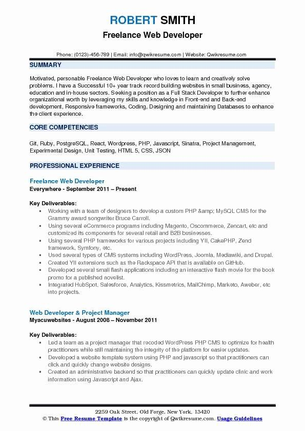 Full Stack Developer Resume Examples Awesome Freelance Web Developer Resume Samples In 2020 Teacher Resume Manager Resume Resume Examples