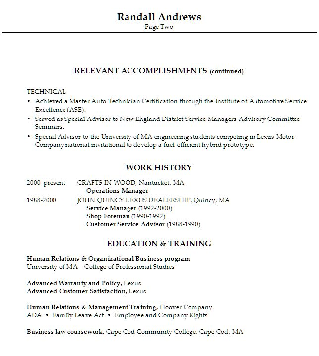 Sample Resume for someone seeking a job as an Automotive Service Manager / Director