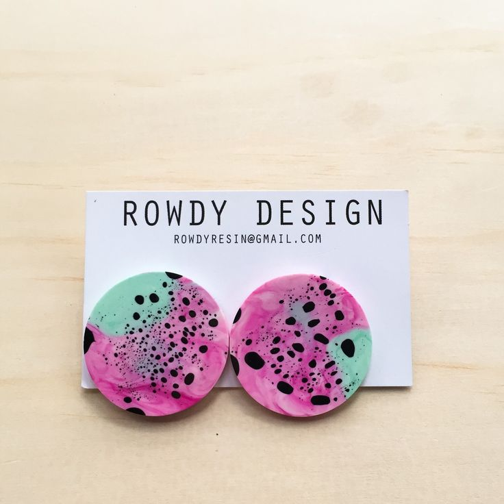 Round Disc Resin Swirl Stud Earrings - Green and Pink with Black Speckle by RowdyDesign on Etsy https://www.etsy.com/au/listing/263125003/round-disc-resin-swirl-stud-earrings