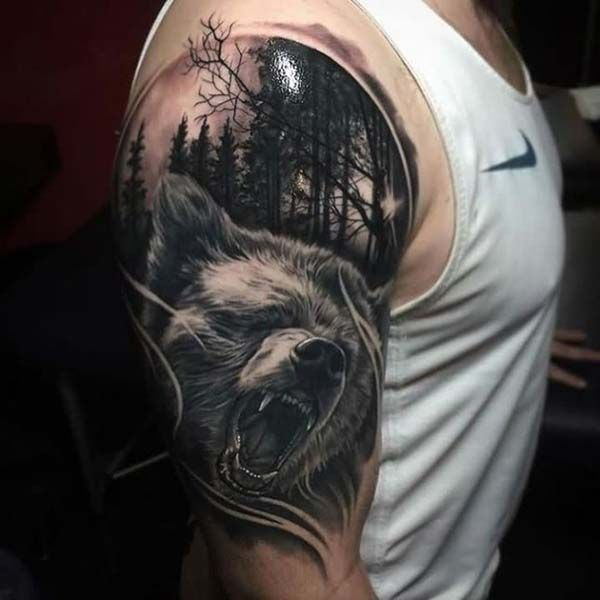 bear tattoo black and white