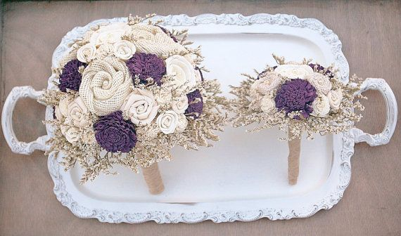 Eggplant Wedding Bouquet // Rustic Bridal Bouquet Dark Plum