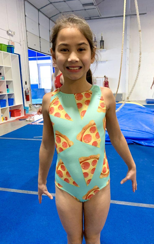 Girls pizza gymnastics leotard in 2020 girls leotards