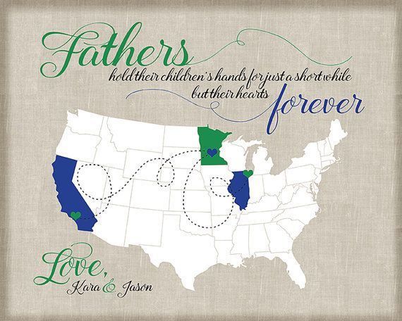 Long Distance Father Daughter Map, Gift for Dad from Kids