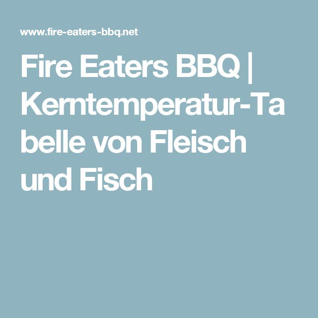 Fire Eaters BBQ | Kerntemperatur-Tabelle von Fleisch und Fisch