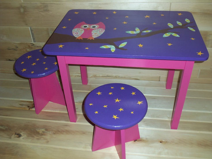Pink/Purple Owl Table. $160.00, via Etsy.