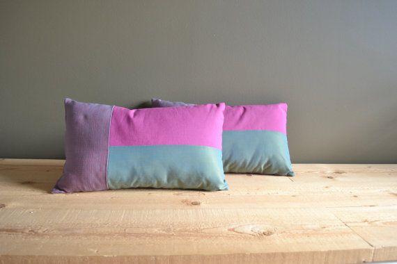 modern cushion covers in teal magenta and grey - lumbar pillows - set of 2x teal magenta 12x20 lumbar pillows - modern housewarming gift #redstitch