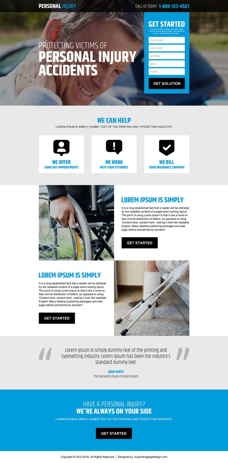 personal injury accidents claim lead generating landing page design