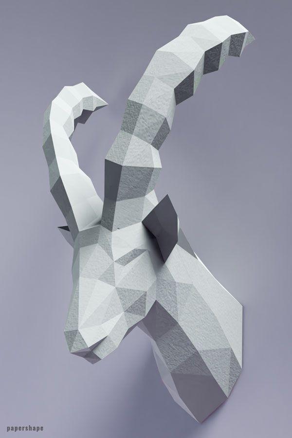 3d Steinbock Aus Papier Papierkunst Als Wanddeko In 2020