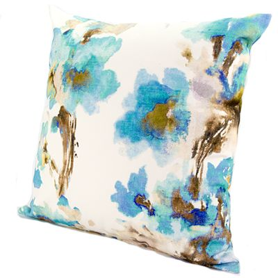 Lynton Aqua from www.designarthouse.com.au.  A gorgeous floral cushion range available in three colours, rose, aqua and yellow. Made from 100% linen.   Dimensions: 50cm x 50cm   Includes insert.