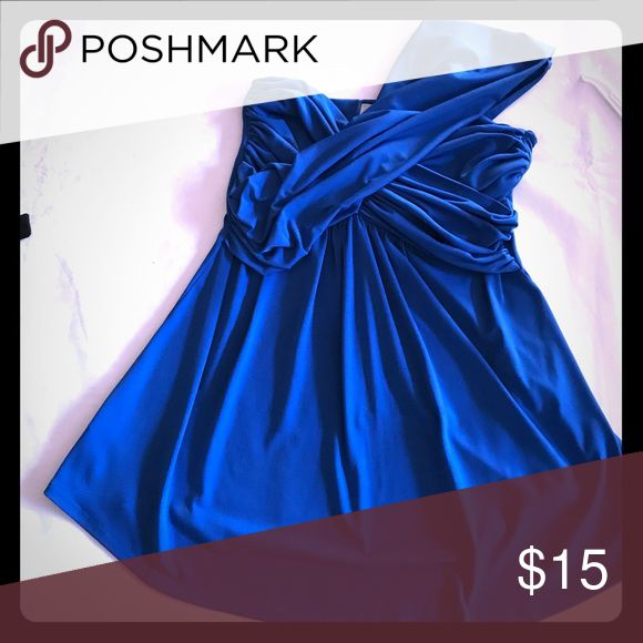 Summer Sale!  One shoulder top Beautiful royal blue one shoulder Grecian style top. Gorgeous with white jeans or shorts. Great for beach resort wear. Unpack and ready to wear.  Used in excellent condition. Tops Tunics