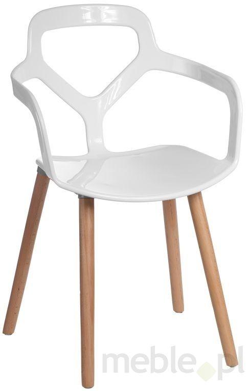Białe krzesło z nietypowym oparciem Nox Wood
