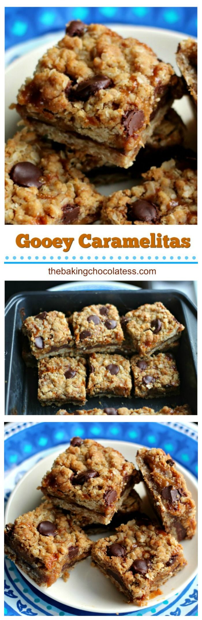 Gooey Caramelitas - Ooey, gooey deliciousness in bars loaded with chocolate, oats and caramel with an oatmeal cookie crust! via @https://www.pinterest.com/BaknChocolaTess/