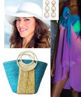 Beach Glam Belize Silver Beachwear Bundle-- White Beach Hat, Earrings, Beach Bag,  Silk Ombre Sarong Silver Tier Beach Outfit $185