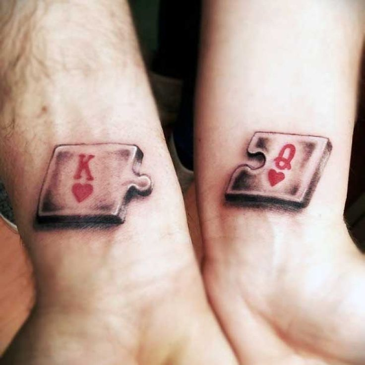 King And Queen Of Hearts Tattoo Small King And Queen Puzzle Heart Tattoo For Males On Wrists