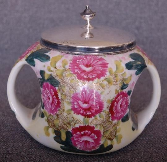 LOVELY NIPPON MORIAGE LARGE 2 HANDLED DP PINK FLORAL BISCUIT JAR CRACKER BARREL