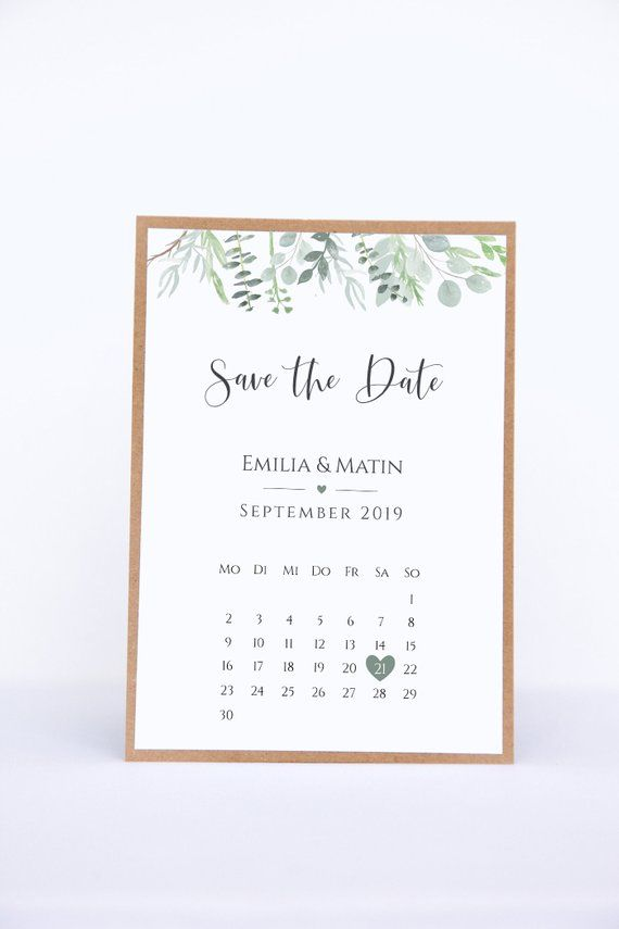 Save the Date Karten mit Kalenderblatt – Eucalyptus Love