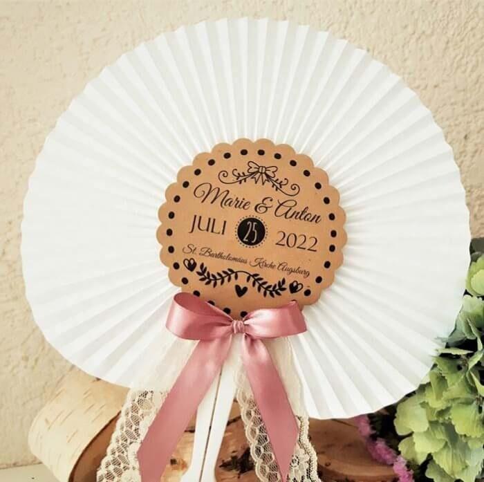 10x Facher Hochzeit Vintage Gasgeschenke Hochzeit Kraftpapier Gastgeschenk Hochzeitsgaste Kirche Papierfacher Altrosa Weiss Spitze Wedding Vintage Hand Fan